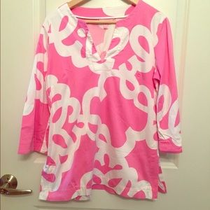 Lilly Pulitzer Top Tunic size Medium Pink/white